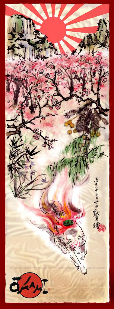 Japanese-style painting of Ammy making her way through a beautiful landscape, bright sun above.