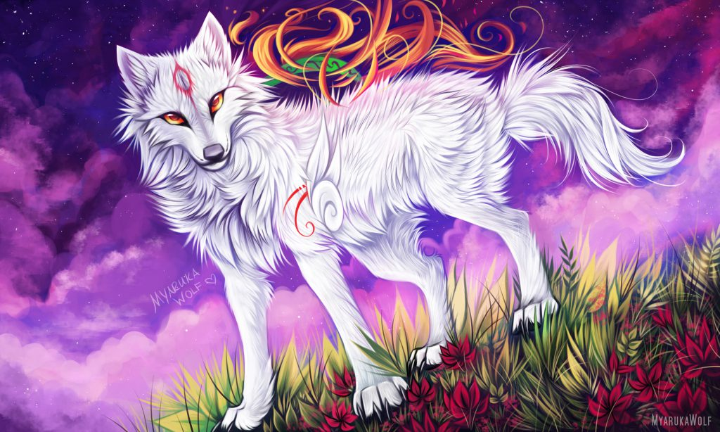 Ammy standing on a lush and grassy ground and looking towards the viewer, heavy clouds in the sky.