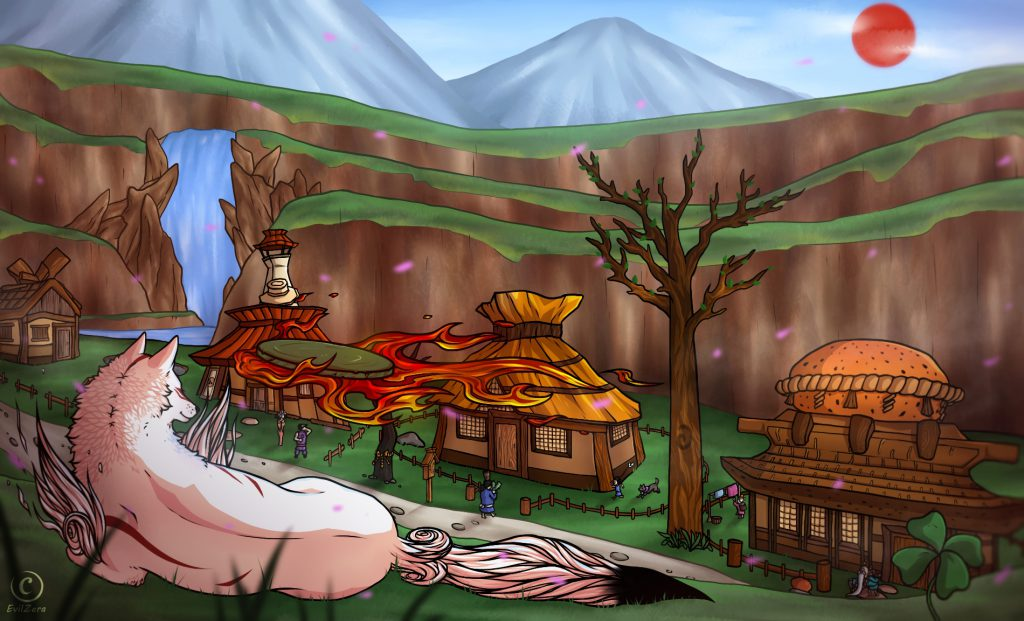 Ammy on top of a hill overlooking Kamiki Village. A four-leaf clover nearby.