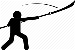 Icon showing attack using pole weapon.