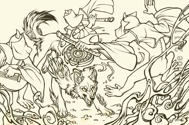 Ammy in combat with 3 imps, who are circling her.