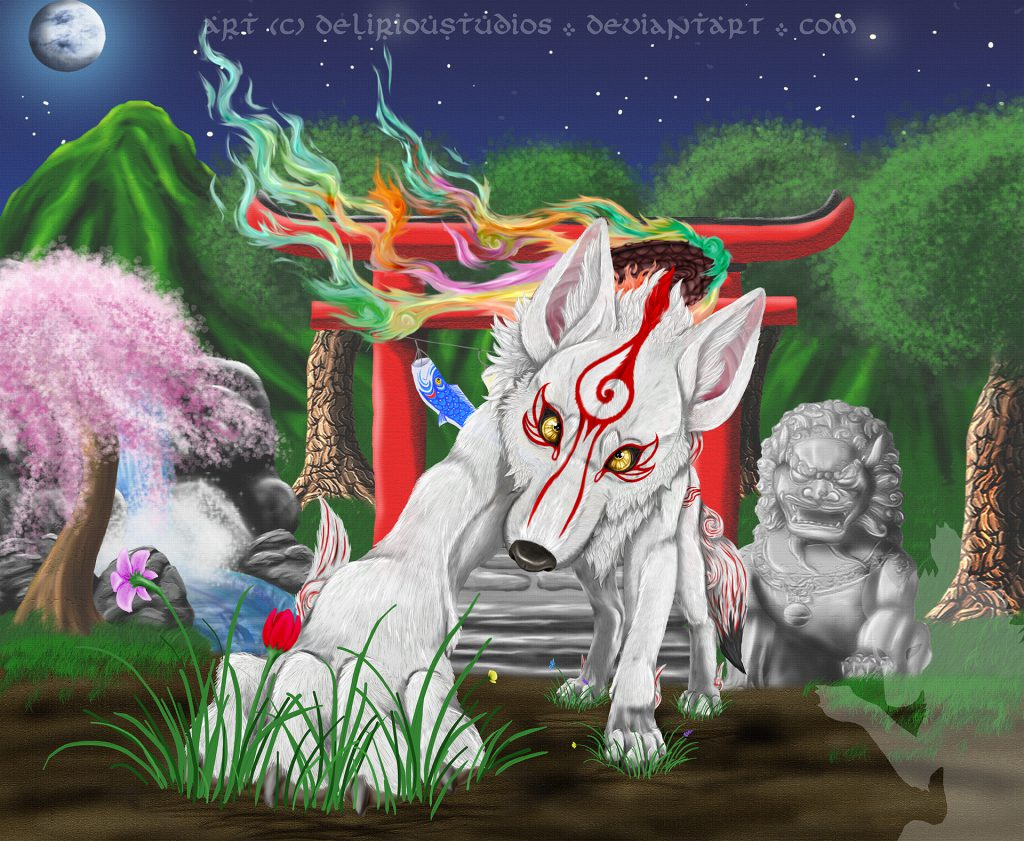 Ammy looking at viewer, her paw outstretched and on the ground, trees behind her, night-time scene.