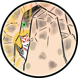 Drawing of Ammy peering out from her cave, behind a boulder.