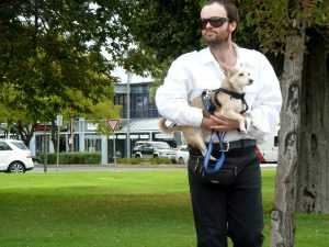 Man walking in park, carrying small dog.