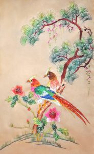 Japanese Bunka shishu embroidery showing birds in tree.
