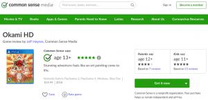 Common Sense Media website screenshot of very positive Okami game review