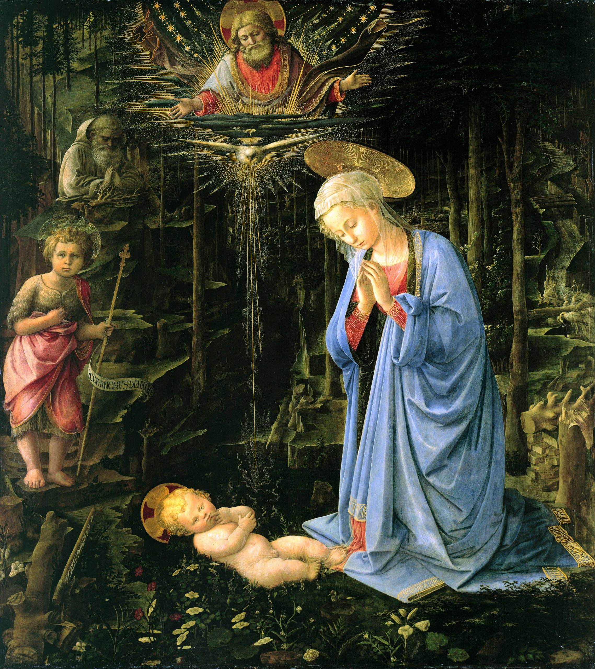 Painting of the Virgin Mary and newly born Christ Child, in a dark forest - by Filippo Lippi.