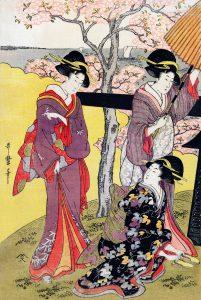 Ukiyo-e print of 3 women near a tree: Gotenyama no Hanami Hidari by Utamaro Kitagawa