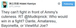 Hideki Kamiya Twitter Post, calling Ammy cute.