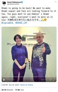 Ikumi Nakamura and Hideki Kamiya Twitter announcement of wanting to make a sequel to Okami, October 18 2019