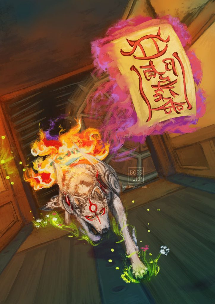 Ammy running through a hallway that has spikes and spiked wheels coming from the walls, she is racing the demon Gatekeeper Tobi.