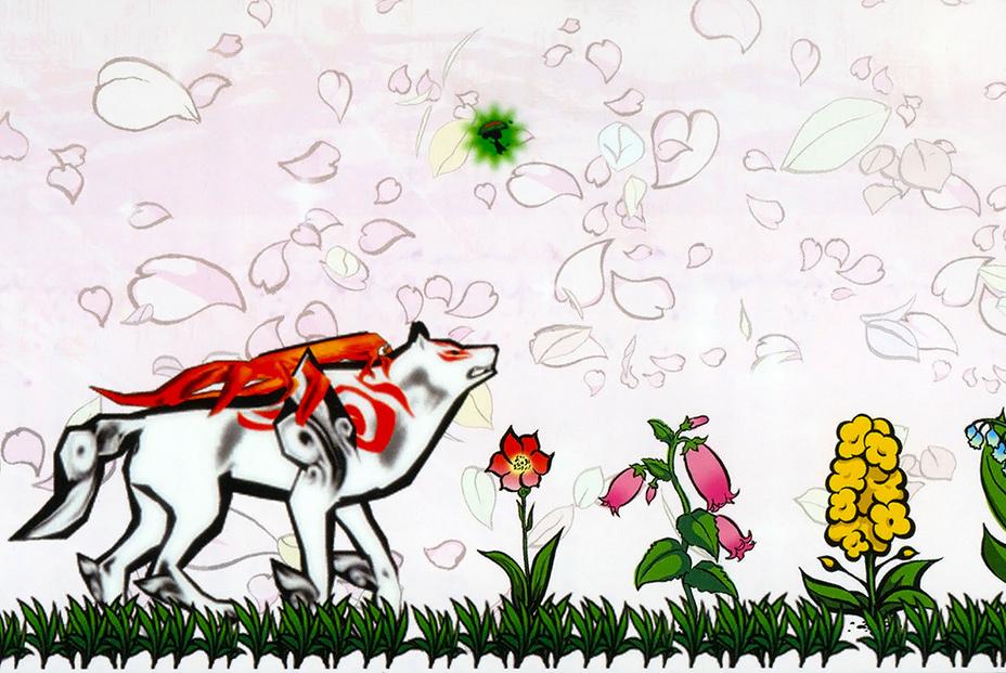 Okami official art: Ammy walking in field of flowers.