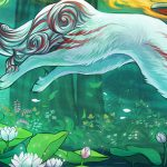 OkamiNow.org website header - Ammy/Shiranui running, leaving behind a trail of flowers.
