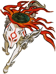 """Official art of Okami Amaterasu, showing flaming """"Divine Retribution"""" weapon/reflector/mirror floating above her back."""
