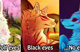 Three fanarts of Ammy. Text: Wolf eyes, Black eyes, ...No eyes?