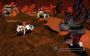 PS2 Okami screenshot: Ammy fighting a demon.