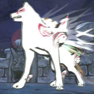 Okami screenshot, showing the wolf Shiranui.