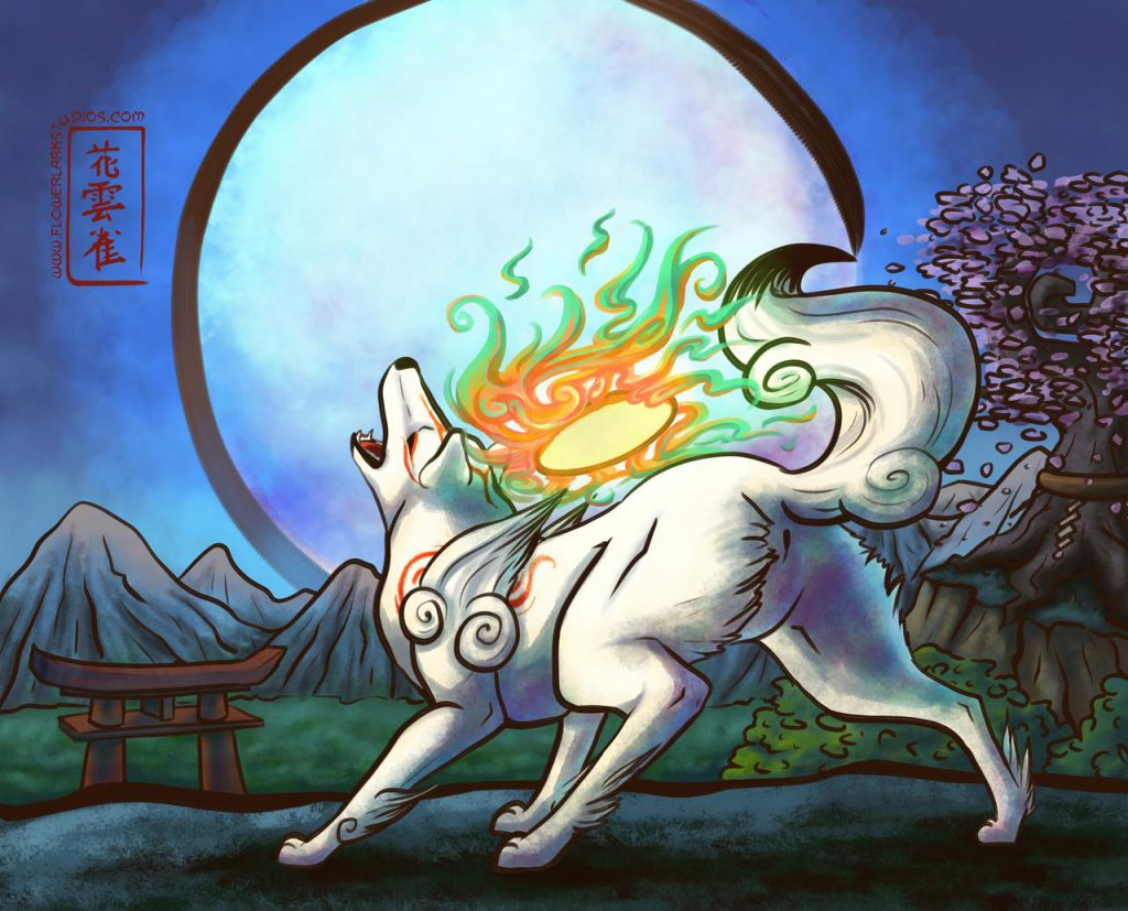 Ammy howling powerfully at the moon, which she appears to have brought into view/existence with her Celestial Brush/tail.