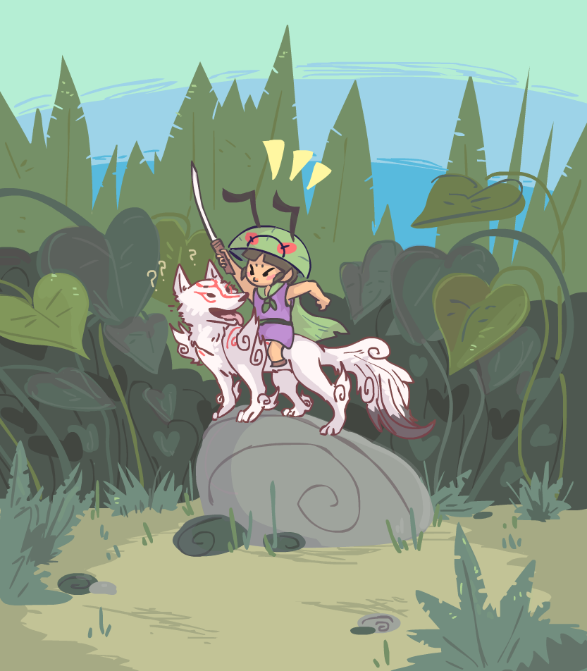 """Issun riding on (Lucky Mallet shrunken) Ammy, his sword raised in the air as though he were giving a command to """"charge"""", Ammy just looking at him confused."""
