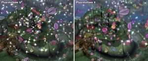 Okami game screenshots, side-by-side comparison between PS3 and PS2 version.