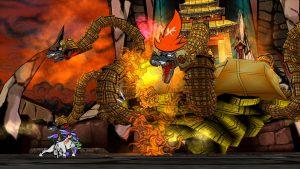 Okami game screenshot, Ammy squaring off against Orochi.