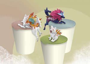 Okami character noodle stoppers - Ammy, Chibi and Oki.