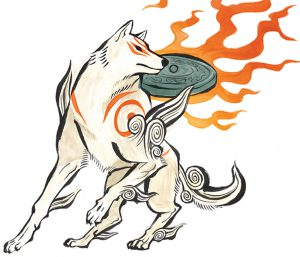 Okami official art: Okami Amaterasu (Ammy).