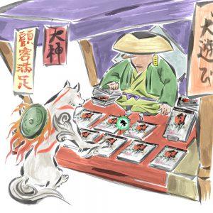 Okami official art: Ammy buys Okami from merchant.