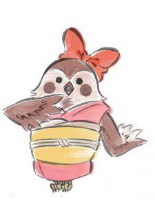 Okami official art: Chun, an anthropomorphic bird.