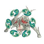 """Drawing of Ammy (official art) in a strong pose, with her """"Exorcism Beads"""" weapon."""
