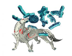 Drawing of Ammy (official art) showing her in a strong pose, with a shield/weapon floating above her back.