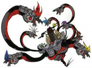 Okami official art: Giant eight-headed demon serpent, Orochi.