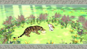 Okami screenshot: Ammy feeding a tiger.