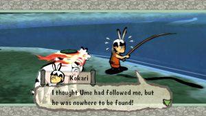 Okami video game screenshot: Kokari has lost his dog Ume.