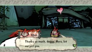 Okami game screenshot: Ammy just rescued Sparrow Chun, based on tale of The Tongue Cut Sparrow..