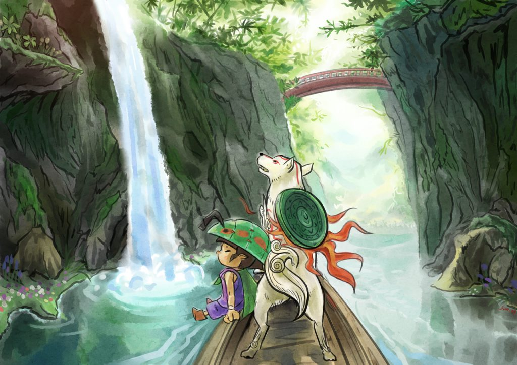 Issun and (Lucky Mallet shrunken Ammy) on a raft, going down a stream, they are observing the beautiful surroundings.