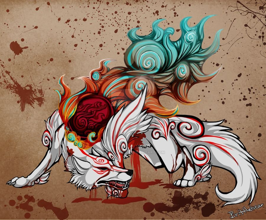 Ammy, in her Shiranui form, badly wounded and bleeding but still standing defiantly.