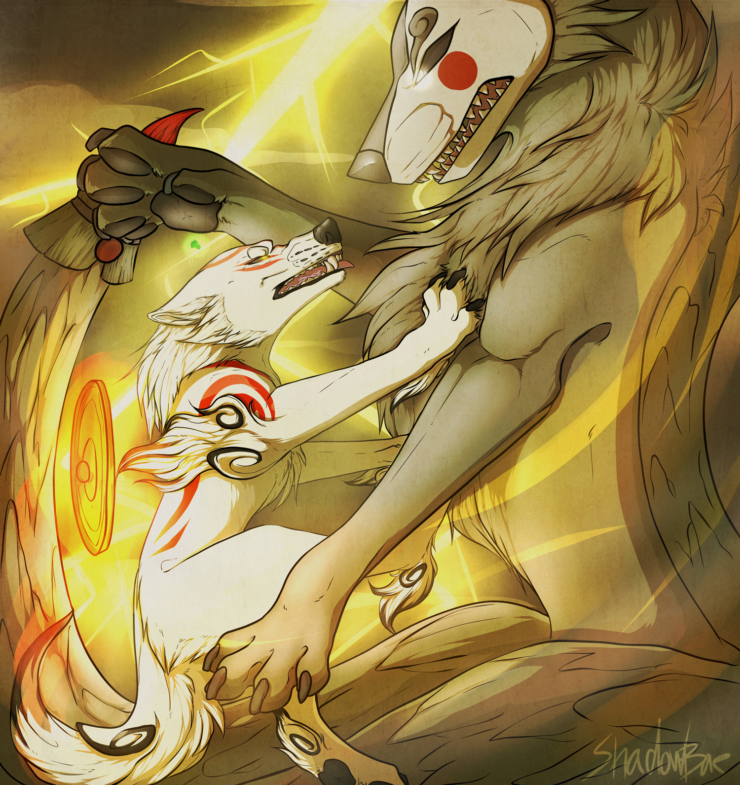 Ammy physically attacking a much larger Ninetails, teeth bared, flames and lightning flashing.