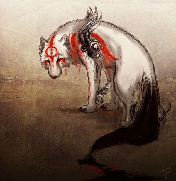 Ammy appears to be tired, defeated and emotionally broken, the crimson markings dissolving and dripping off like blood and seeping ink from her tail, she is walking away, looking back towards the viewer.