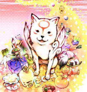 Happy Chibiterasu with treasures.