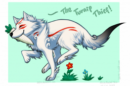 """Ammy with a turnip in her mouth, running. Caption: """"The Turnip Thief!"""""""