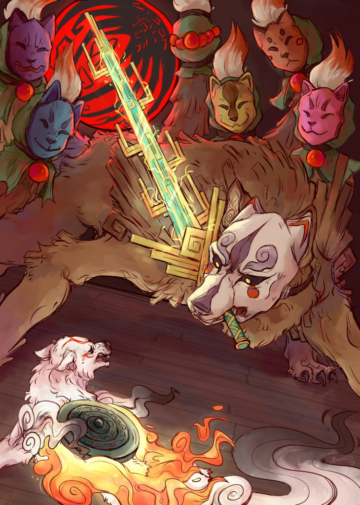 Ammy and Ninetails squaring off, Ninetails has a sword in its mouth, ready to strike at Ammy.