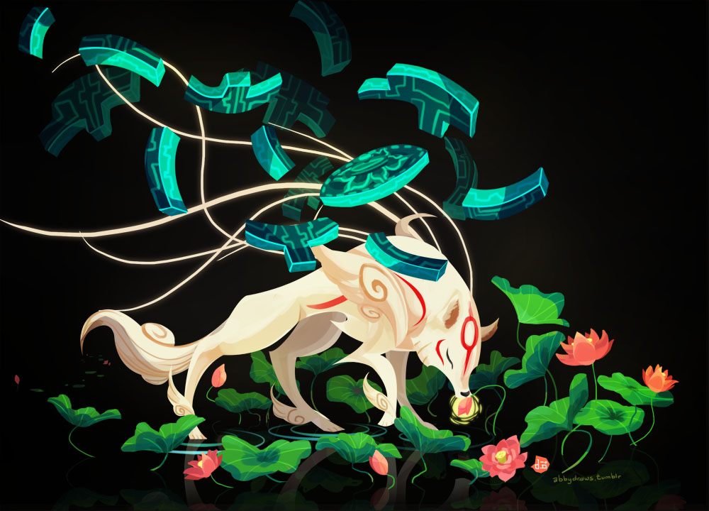 Ammy with the Infinity Judge Divine Instrument floating above her, walking on water, sniffing a lily pad flower.