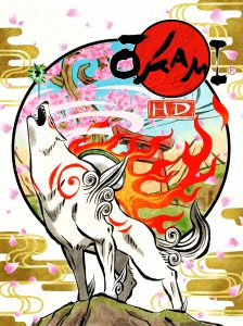 Okami box art, showing Ammy howling, Issun above her nose.