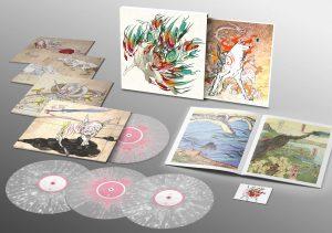Okami soundtrack vinyl records and booklets.