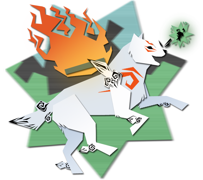 Ammy, shown in a paper cut-out style, running with happy expression, Issun close by her.