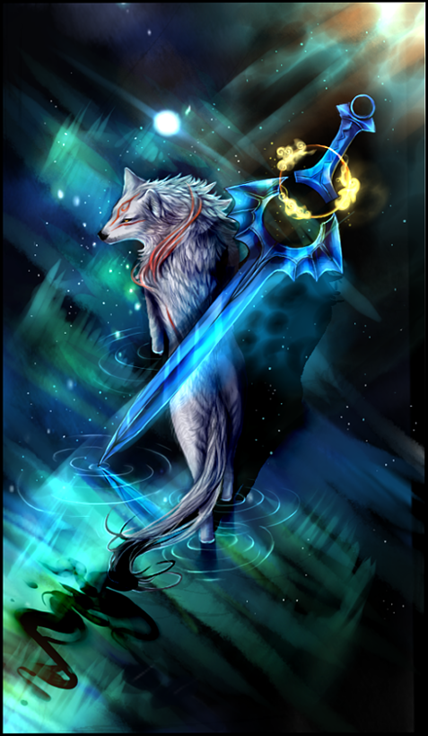 Ammy walking through water with stars reflected, massive glaive floating above her back, she is walking away but looking towards the viewer.