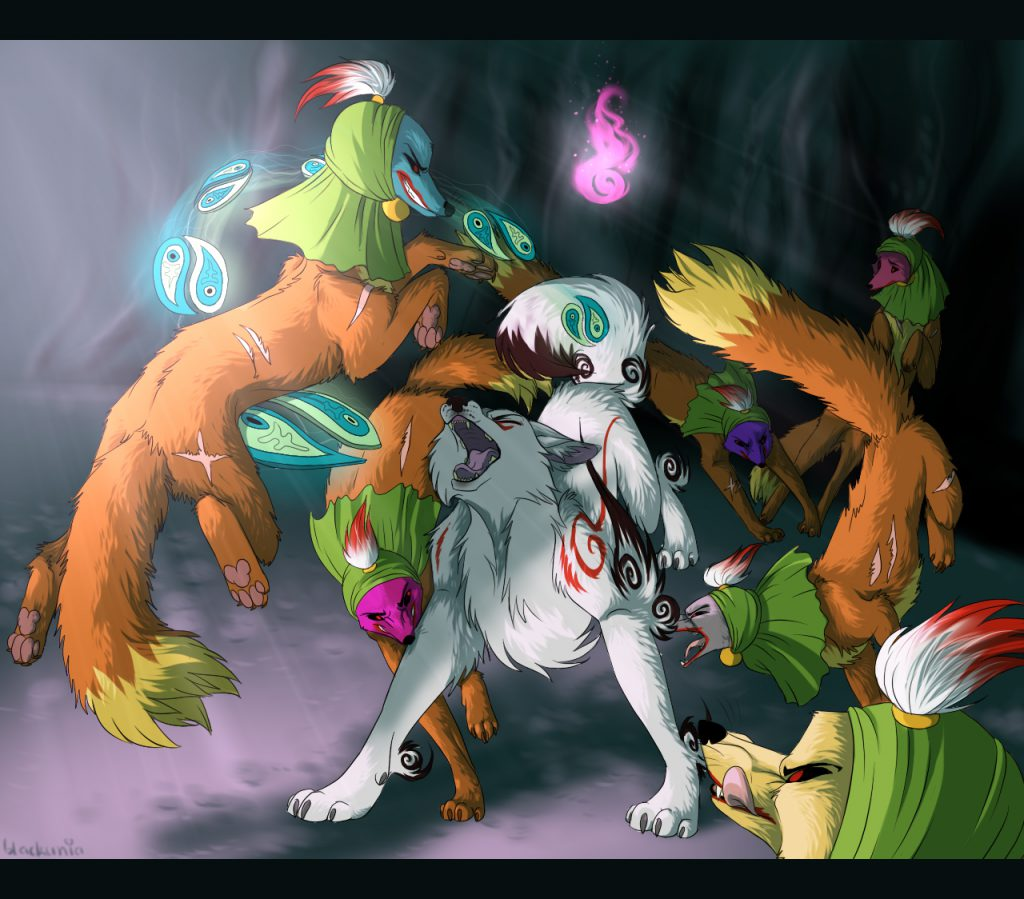 Ammy being surrounded, attacked and bitten by demonic Tube Foxes.