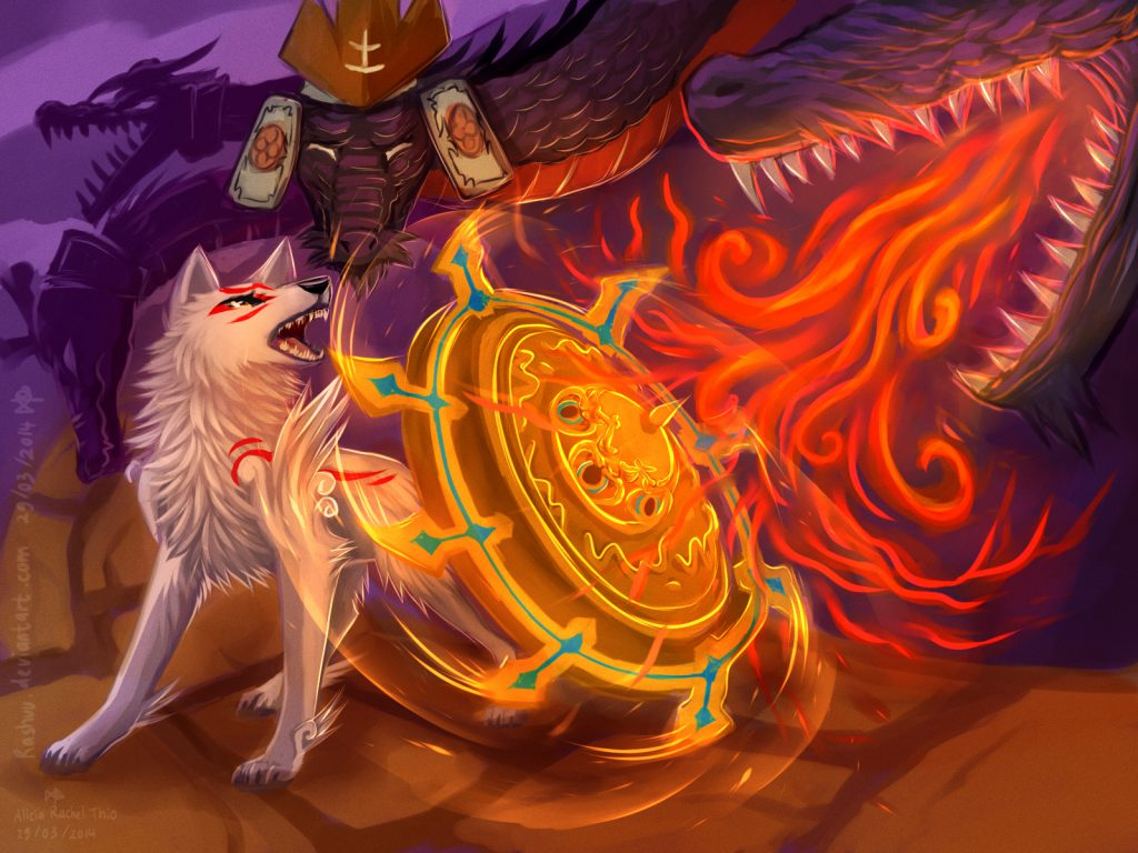 Ammy in close combat with Orochi, using her Snarling Beast reflector to block a fire-attack by one of Orochi's heads.