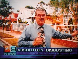 """News reporter on television with revolted look on face, headline """"absolutely disgusting""""."""
